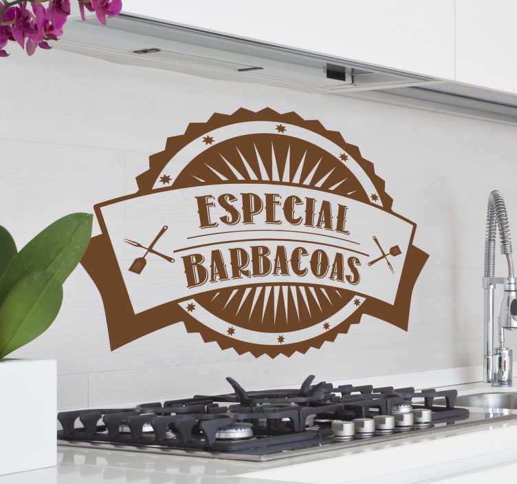 TenVinilo. Vinilo decorativo especial barbacoas. Adhesivo con aire retro para aquellos que gustan de hacer asados los domingos en casa.