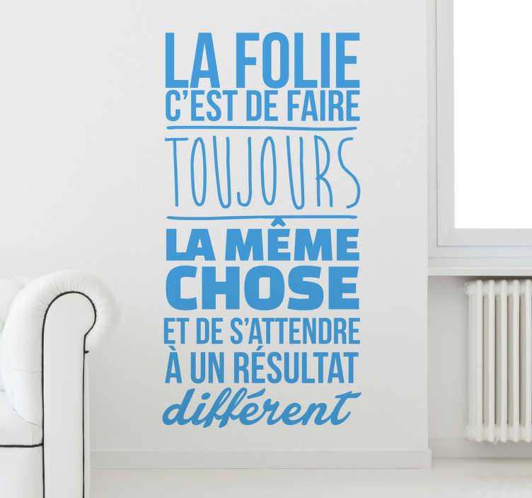 TenStickers. Autocollant mural la folie. Jolie définition de LA FOLIE avec ce stickers décoratif. Pour une déco simple et élégante de vos pièces à vivre.