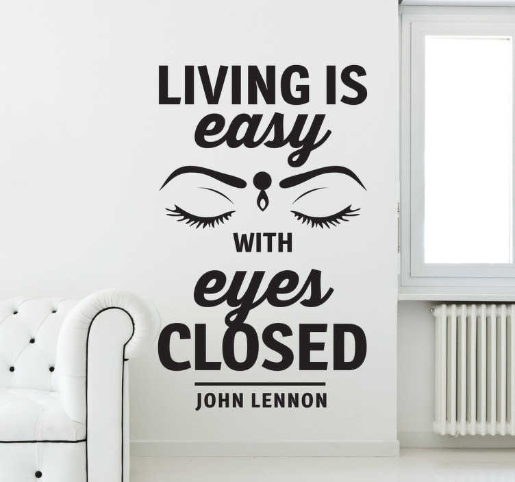 TENSTICKERS. リビングは簡単ですビートルズの壁のステッカー. ストロベリーフィールドの歌詞の歌詞の壁のステッカーは、ビートルズによって永遠に。ジョンレノンファンのための素晴らしいデザイン。パーソナライズされたステッカー。