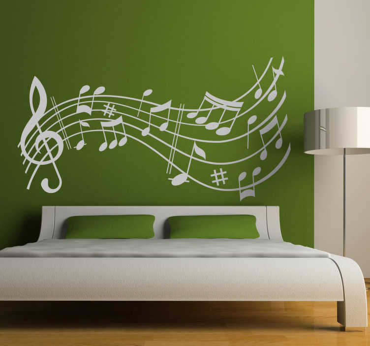 TenStickers. Muursticker vrolijke muzieknoten. Decoreer lege muren of ruimtes met deze vrolijke muursticker met muzieknoten. Verkrijgbaar in verschillende kleuren en maten. +10.000 tevreden klanten.