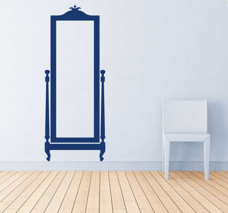 TenStickers. Sticker miroir classique. Un miroir classique sur sticker pour décorer et personnaliser votre espace. Choisissez votre couleur et vos dimensions personnalisées.