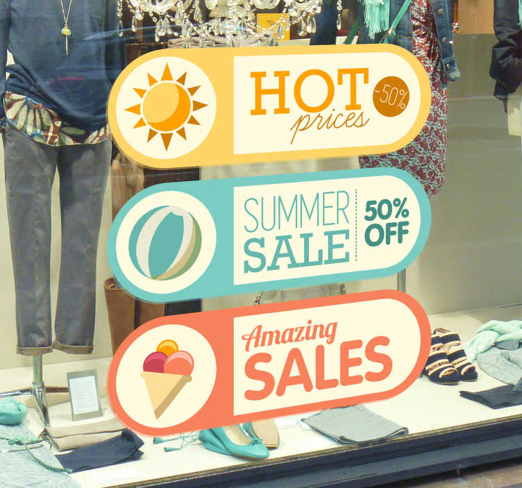 TenStickers. Summer Sale Window Sticker. Great shop front window stickers to show all your clients the fantastic summer sales you are offering!