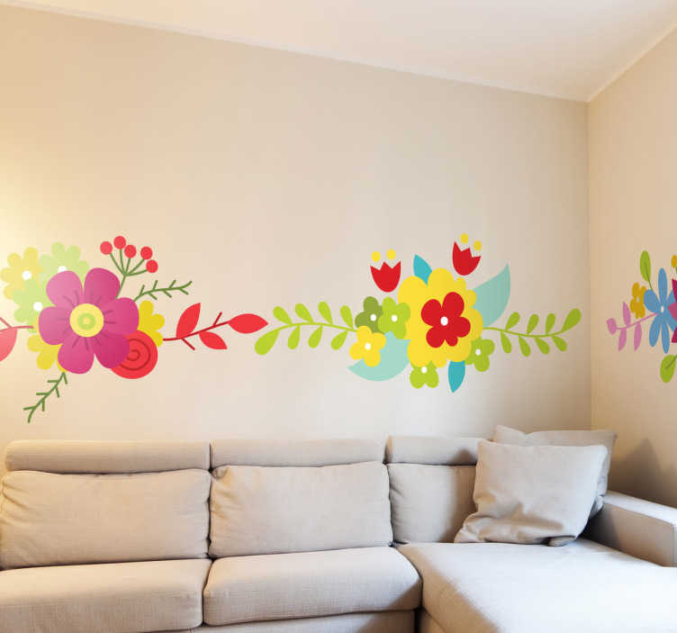 Sticker decorativo set cornici fiori tenstickers for Set cornici da parete