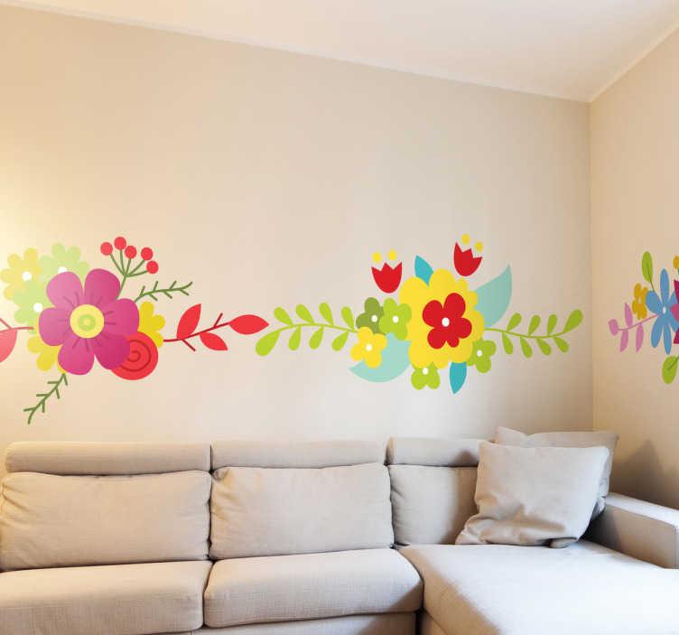 TenStickers. Wandtattoo bunte Blumenranke. Bordüren - Geben Sie Ihrem Zuhause eine ganz besondere Note mit dieser filligranen Wandtattoo, dass wunderschöne bunte Blumen zeigt.