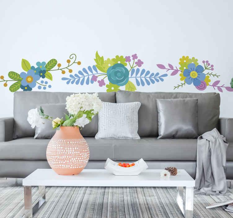 TenStickers. Naklejki niebieskie bukiety. Naklejka na ścianę przedstawiająca kolekcję trzech bukietów pięknych, letnich kwiatów z przewagą koloru niebieskiego. Rozdziel naklejki i aplikuj je w różne miejsca.