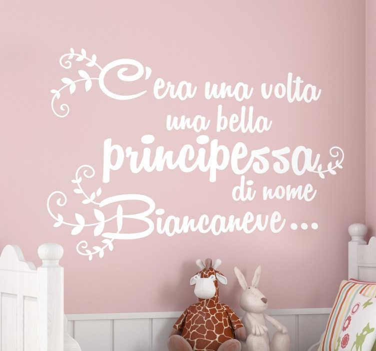 TenStickers. Sticker decorativo inizio Biancaneve. Elegante adesivo murale che raffigura la celebre frase con la quale ha inizio il racconto di Biancaneve.