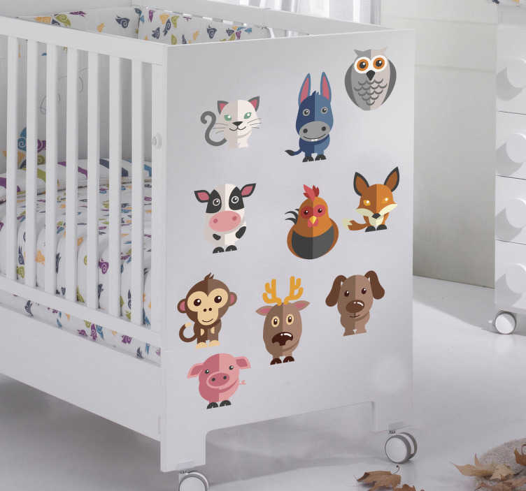 TenStickers. Kids Animal Decal Collection. Kids Wall Stickers - A set of 24 adorable animals. The animal wall stickers are perfect for a child´s bedroom or nursery. Anti-bubble vinyl.