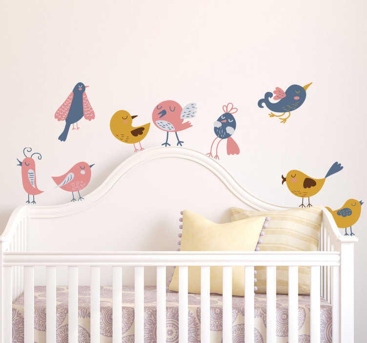 TenStickers. Nine Birds Sticker Collection. A collection of nine bird illustrations from our collection of birds wall stickers. A variety of different types of bird designs ideal for decorating the nursery. Bring some colour into your child's room with these wonderful blue, yellow and pink birds.