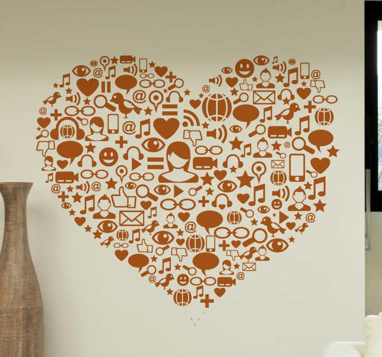 TenStickers. Naklejka serce social media. Naklejka na ścianę przedstawiająca kształt serca, w którym widzimy ikony związane z social media, takie jak koperta, lupa, nuty, dymki konwersacji.