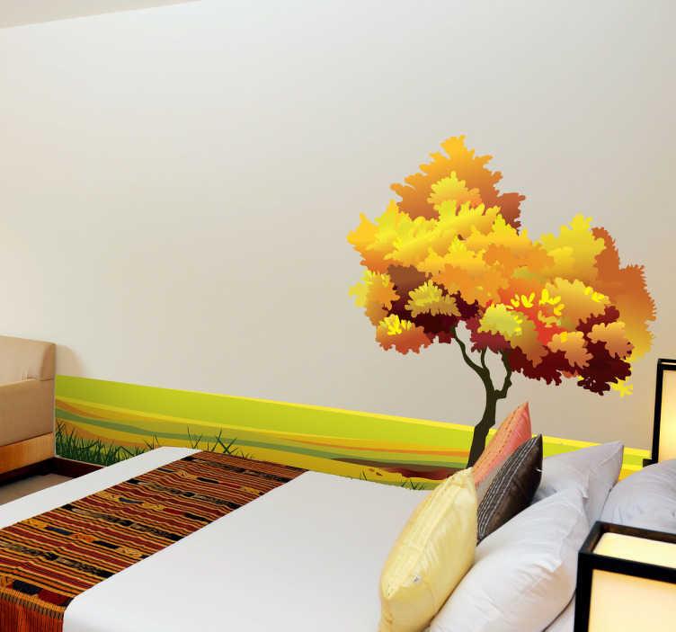 TenStickers. Adesivo murale paesaggio autunnale. Sticker decorativo che raffigura una spettacolare scena di natura in autunno. Ideale per dare colore e vitalità alle pareti di casa.