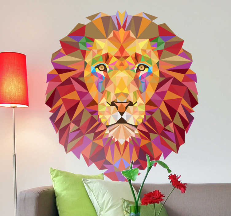TenStickers. Geometric Lion Head Decal. Animal Wall Stickers - Striking geometric illustration of a fierce lion. Distinctive colourful features for decorating walls, furniture & appliances.