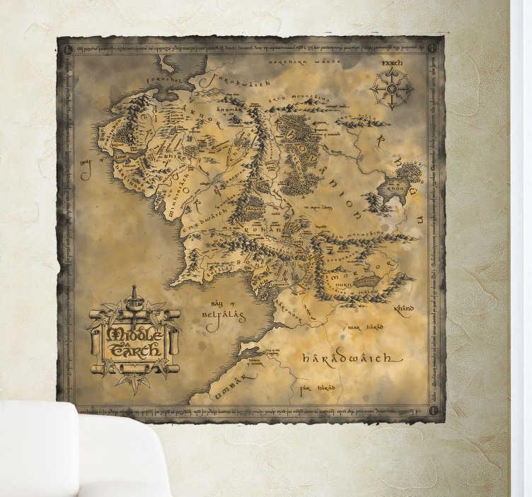 TenStickers. Sticker carte monde Tolkien. Fan de la saga Le Seigneur des Anneaux ? Les différentes provinces du monde de Tolkien sur ce sticker planisphère.