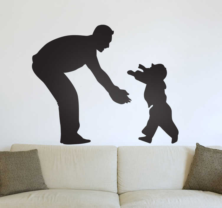 TenStickers. Father & Son Wall Sticker. A silhouette outline illustration of a toddler running into the arms of his father. A magnificent family wall art sticker.
