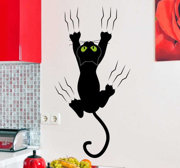 TenStickers. Cat on the Wall Kids Sticker. A great cat wall sticker to decorate your kitchen! Add a touch of originality to your home with this clinging black cat with its claws.