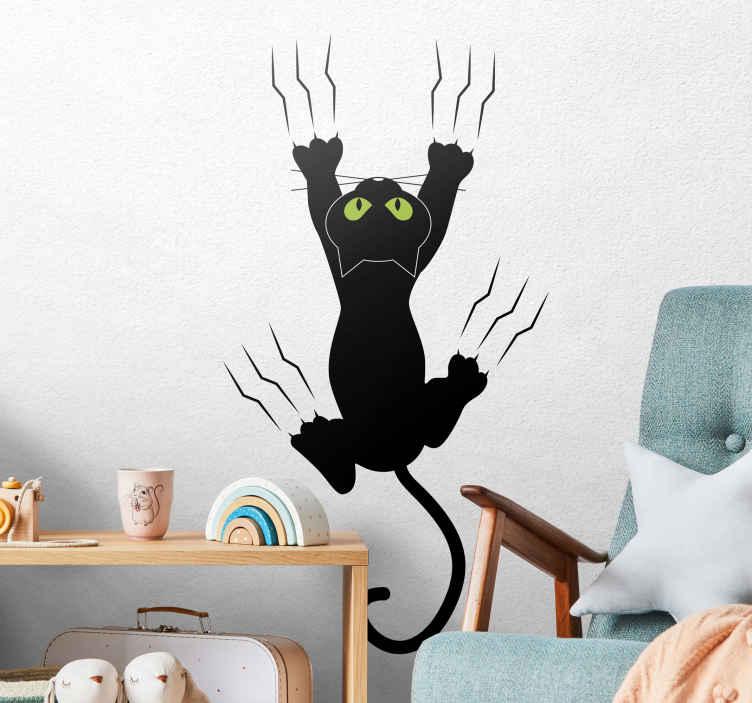 TenStickers. Autocolante decorativo gato na parede. Autocolante decorativo com um gato tentando subir uma parede com as suas garras. Dê algum entusiasmo à decoração da sua cozinha!