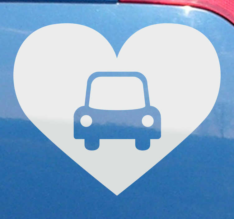 TenVinilo. Adhesivo decorativo corazón coche. ¿Quieres a tu vehículo como si fuera tu hijo? Demuéstralo con este curioso vinilo.