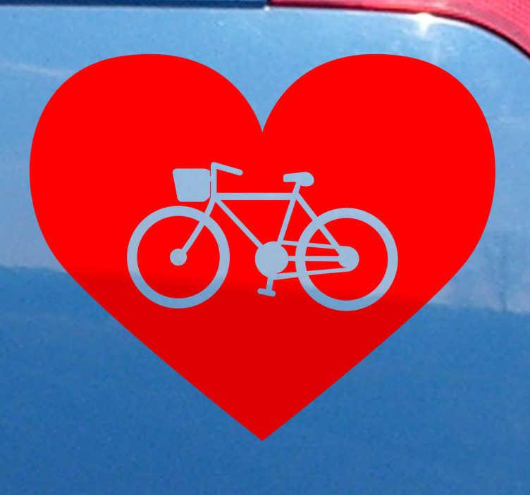 TenStickers. Sticker fietsen liefde hartje love. Een decoratie sticker waarmee je je liefde voor fietsen uit! Een prachtige sticker van een hartje met in het midden de afbeelding van een fiets.