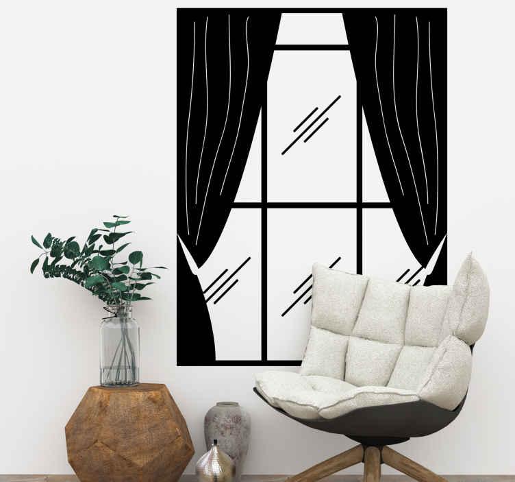 TenStickers. Sticker fenêtre. Une fenêtre classique et ses rideaux dessinés sur sticker pour habillez vos murs et faire entrer la lumière dans votre maison.