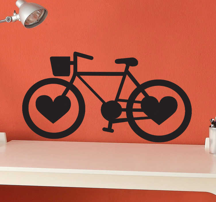 TenStickers. Love Heart Bike Wheels Decal. Bike decals - A fantastic bike wall sticker for those who love to cycle! The bike decal has love hearts for wheels and is a unique design.