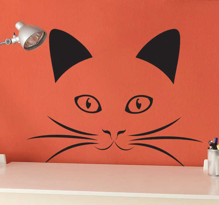 TenStickers. Cat Face Outline Decal. Animals - Portrait monochrome illustration of a cat. Great for animal lovers and suitable for all ages. Available in various sizes and in 50 colours.