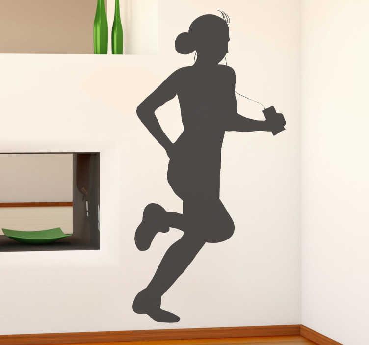 TenVinilo. Vinilo decorativo corriendo con música. ¿Te gusta el running? Inspírate y supérate día a día con este adhesivo con la silueta de una joven deportista.