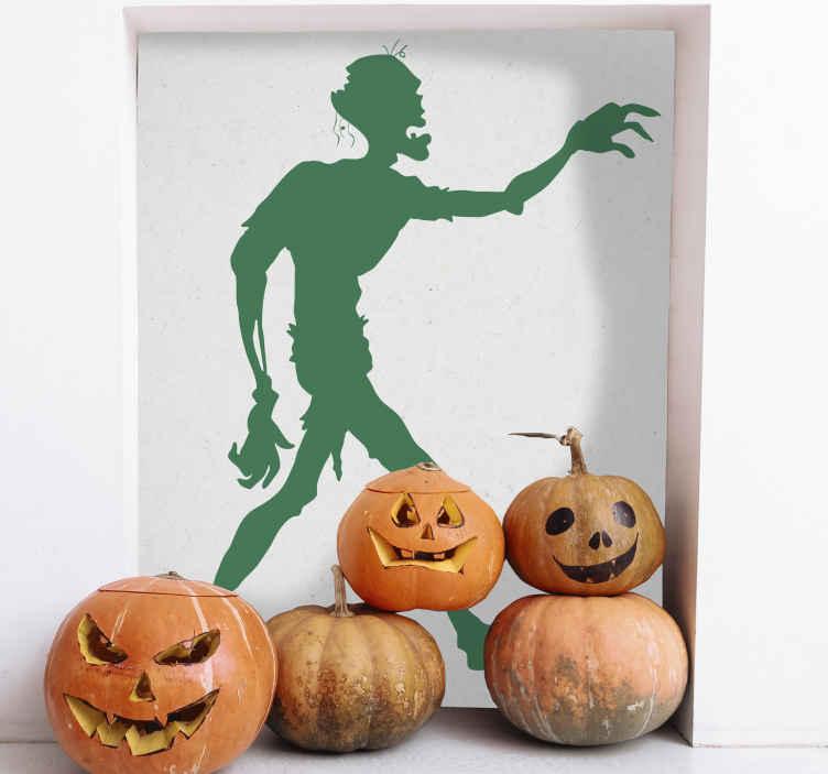 TenStickers. Adesivo cameretta pericolo zombi. Sticker decorativo che raffigura la silhouette di uno zombi che insegue la prossima vittima. Una decorazione originale per la cameretta dei bambini.