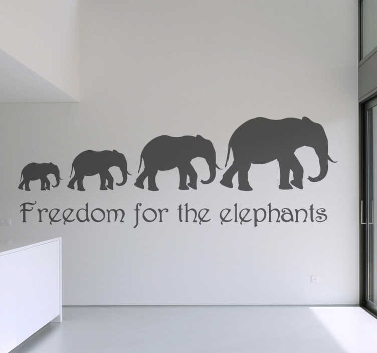 "TenStickers. Freedom Elephants Wall Sticker. Wall Stickers - Silhouette illustration of a line of elephants above the text ""Freedom for the elephants""."