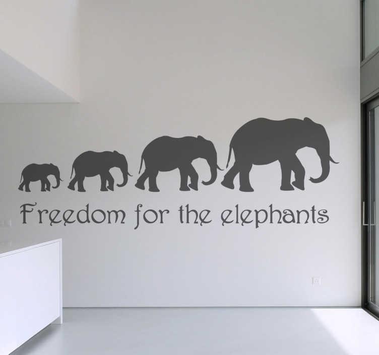 Vinilo decorativo freedom elephants