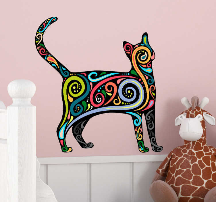 TenStickers. Naklejka kolorowy kot. Naklejka na ścianę przedstawiająca sylwetkę kota pokrytą różnymi, kolorowymi wzorami. Dla wszystkich miłośników zwierząt domowych.