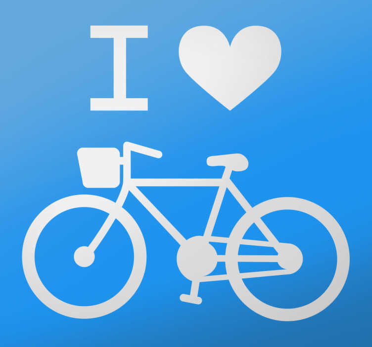 TenStickers. Naklejka I. Prosty, stylowy wzór naklejki dekoracyjnej obrazującej zamiłowanie do rowerów. Monochromatyczny wzór daje możliwość wyboru koloru i odpowiedniego rozmiaru.