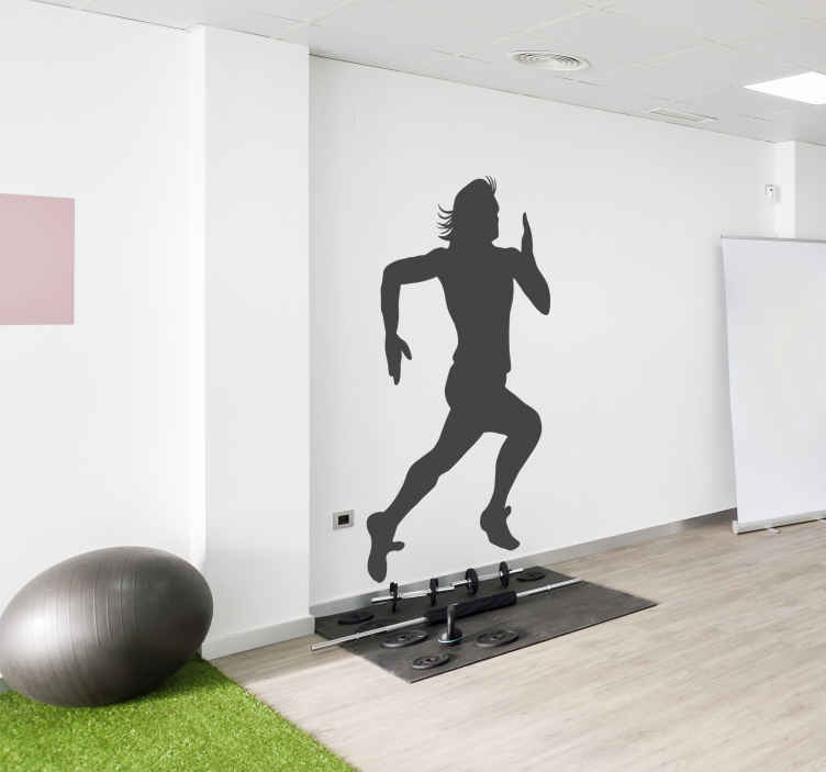 TenStickers. Sticker sporter sprint. Op deze muursticker zie je een mannelijke sporter met lang haar rennen naar de finish. Houdt u van deze sport, laat zien dat je een echte fan bent!