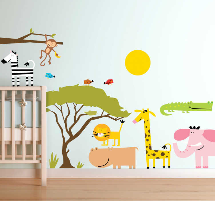 TenStickers. Naklejka dla dzieci sawanna Afryka. Naklejki na ścianę dla dzieci przedstawiająca zwierzęta na sawannie. Są tam: żyrafa, lew, słoń, hipopotam, zebra, małpa i krokodyl.