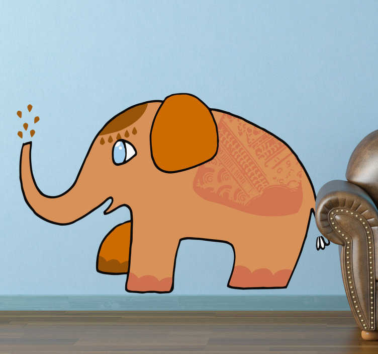 TenStickers. Orange Asian Elephant Wall Sticker. Wall Stickers - Illustration of an Asian elephant decorated in patterns. Available in various sizes. By designer Llorenc Garrit.