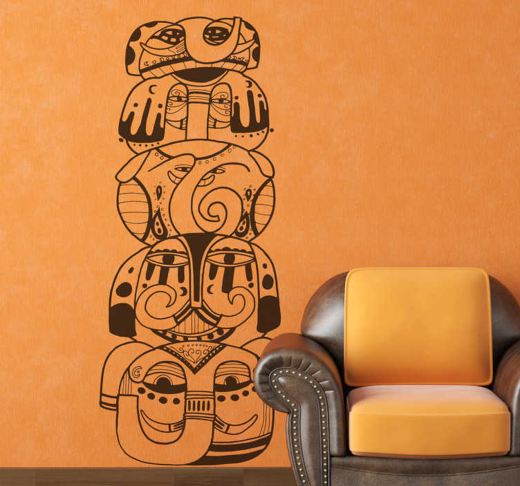 TenStickers. Sticker totempaal dieren. Deze originele sticker omtrent een totempaal in de vorm van verschillende dieren.