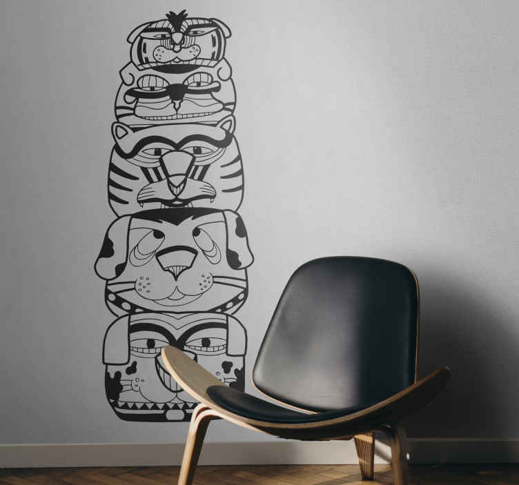 TenStickers. Stencil muro totem indiano. Adesivo muraleche riproduce un'esotica scultura verticale. Originale illustrazione creata daLlorenç Garrit.