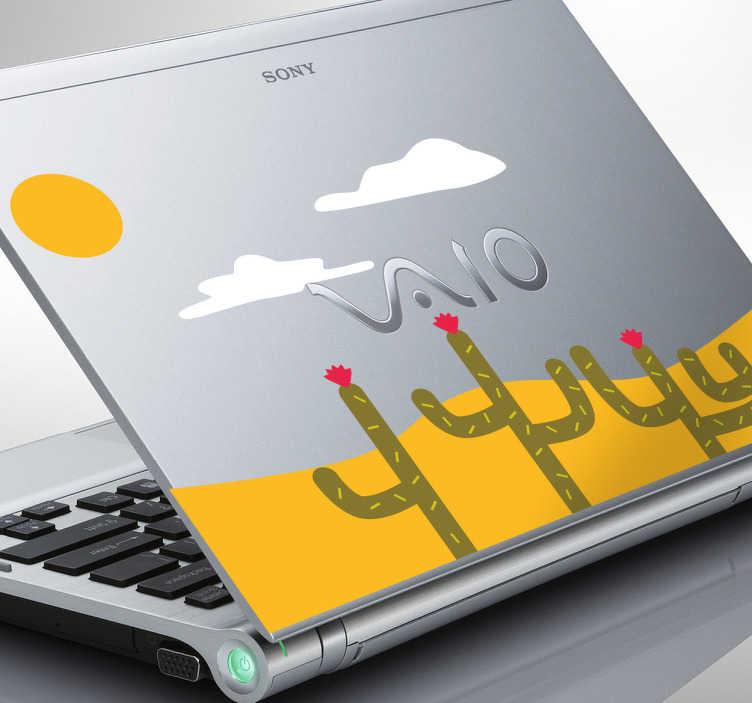 TenVinilo. Adhesivo ordenador desierto cactus. Original y soleado vinilo para decorar tu ordenador y darle un toque distintivo.