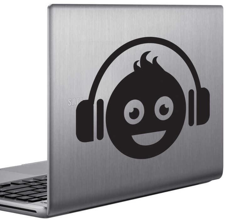 TenStickers. Sticker laptop vrolijke jongen koptelefoon. Een leuke decoratie sticker voor het versieren van je laptop. Decoreer de achterzijde van je laptop met deze leuke sticker.