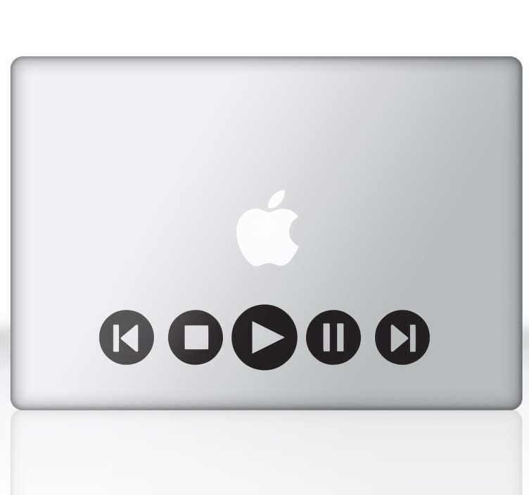 TENSTICKERS. マルチメディアラップトップステッカー. ラップトップやmacbookを飾るためのマルチメディアアイコンを示す素晴らしいデザイン。 macbookステッカーのコレクションからのデザイン。