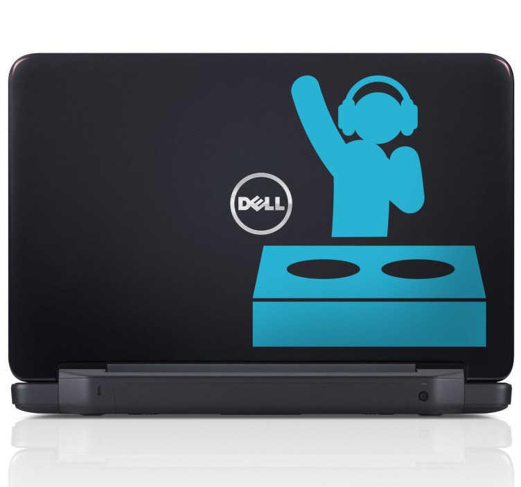 TenVinilo. Vinilo para portatil DJ pro. Adhesivo decorativo para el ordenador para los más aficionados a la música disco.