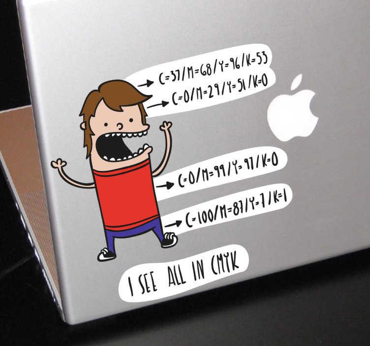 TenVinilo. Vinilo portatil cómic all in CMYK. Divertido adhesivo pensado para ilustradores o diseñadores con el que decorar tu PC.