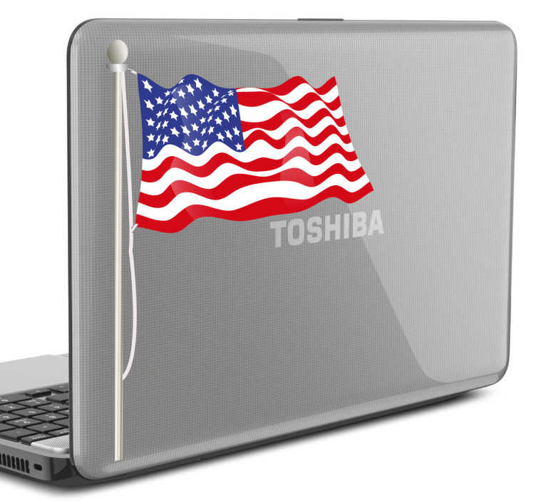 TenStickers. Naklejka na laptopa flaga USA. Naklejka dekoracyjna na sprzęt elektroniczny przedstawiająca powiewającą na wietrze flagę Stanów Zjednoczonych.