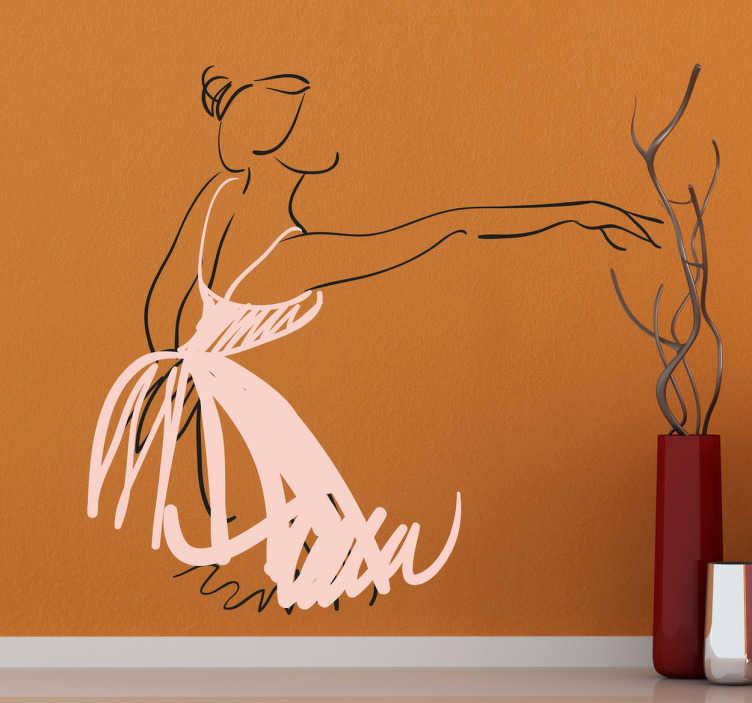 TenStickers. Sticker decoratie ballerina ballet. Een schets van een ballerina in haar typisch roze tutu. Personaliseer uw slaapkamer met deze leuke muursticker.