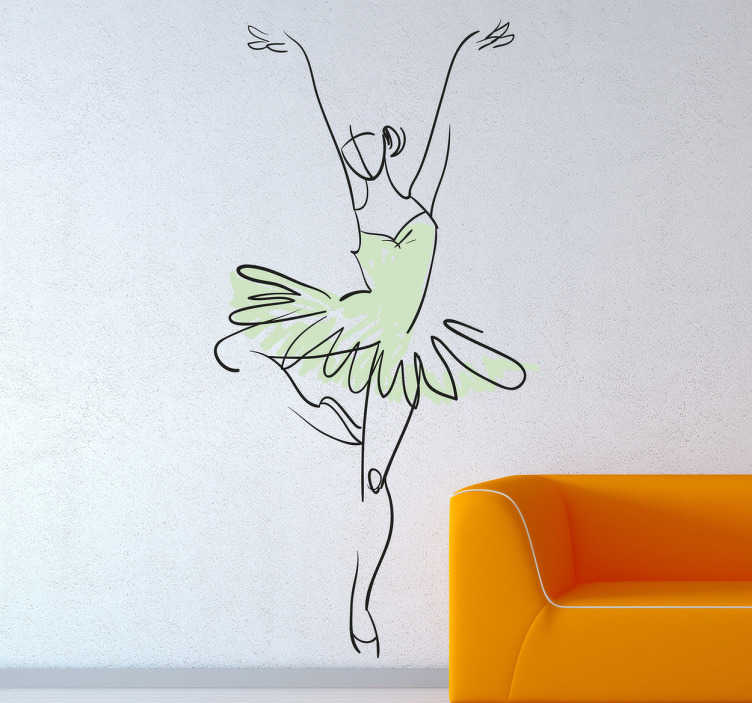 Naklejka tancerka w seledynowym stroju