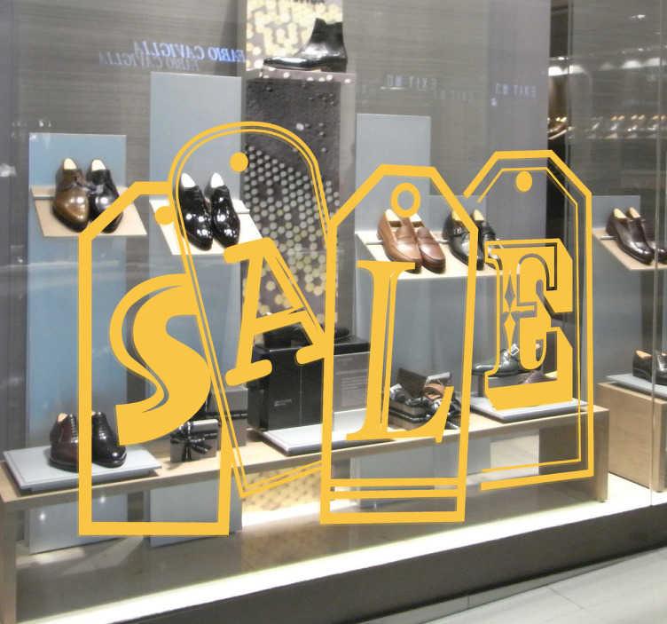 """TenStickers. Sticker winkel solden sale. Plaats deze decoratie sticker op de ramen van uw winkel om aan te geven dat de solden begonnen zijn! Een leuke wandsticker met het woord """" SALE""""."""