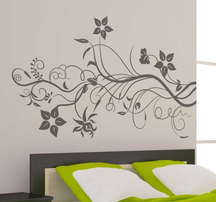 Tenstickers. Murgröna blommiga väggdekal. Blommig väggklistermärke för att ge en elegant och barock ton till ditt hem eller företag. Vacker abstrakt blomma vägg klistermärke perfekt för att ge en fin titt på de annars tomma väggarna i ditt vardagsrum, sovrum eller matsal.
