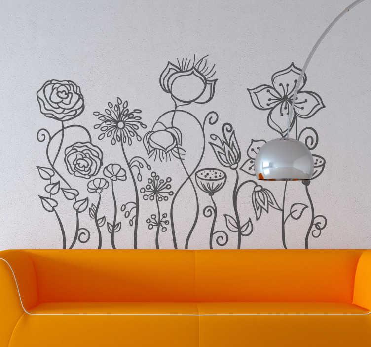 TenStickers. Vinil Decorativo Esboço Plantas. Vinil decorativo ilustrado com esboço de plantas, perfeito para criar um ambiente mais fresco e natural aos seus interiores.