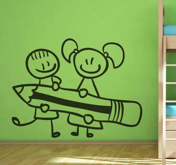 TENSTICKERS. 小さな学生の子供のステッカー. 巨大な鉛筆を持っている2人の笑顔の子供を示すオリジナルのアウトラインウォールステッカー!小さなもののための素晴らしいモノクロデカール。彼らの寝室や研究室をこの楽しいデザインで飾ってください!幅広い色とさまざまなサイズが用意されています。