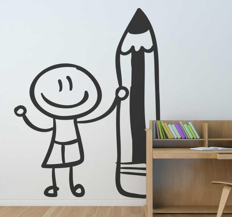 TENSTICKERS. ペンシル壁のステッカーを持つ学生. 教室の壁のステッカー!巨大な鉛筆を持つ子供のデザイン。子供たちが教室の装飾で頑張るように奨励する。