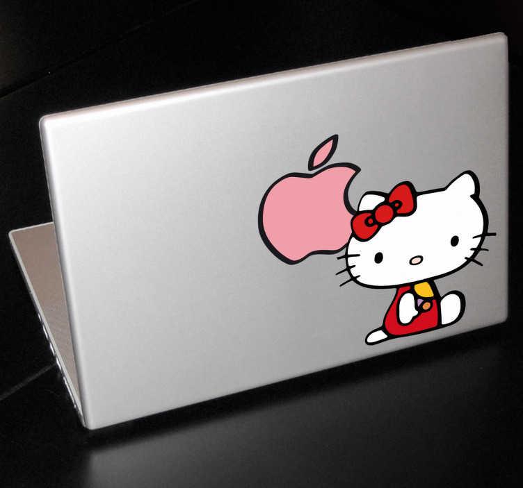 TenStickers. Skin adesiva Hello Kitty Apple. Personalizza il tuo dispositivo Apple con questo simpatico sticker decorativo. Rendi piú grazioso il tuo pc.*Le proporzioni dell'adesivo possono variare leggermente in funzione delle dimensioni del dispositivo.