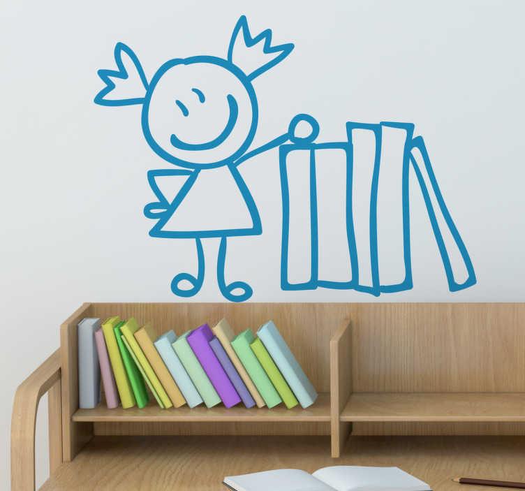 TenStickers. Sticker meisje stapel boeken. Muursticker voor kinderen van een klein meisje naast een grote stapelboeken. Deze wandsticker is een leuk cadeau voor kinderen die van lezen houden.